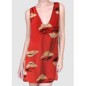 Karen Zambos Red Silk Print Shift Dress, Sz 6